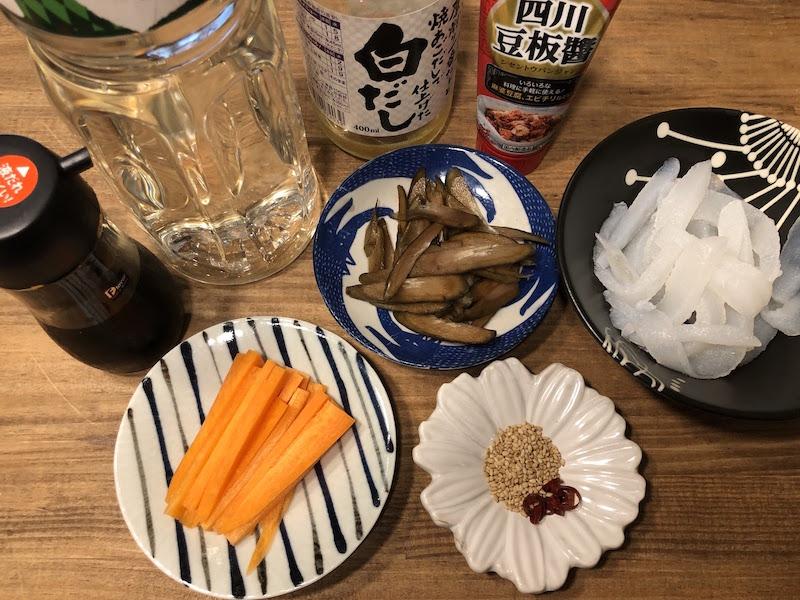 こんにゃくきんぴらピリ辛甜麺醤の材料
